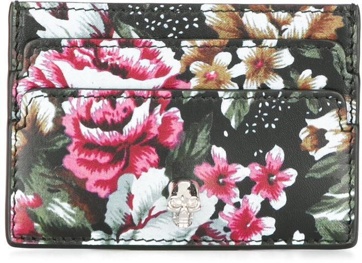 Alexander McQueenAlexander McQueen floral print skull cardholder