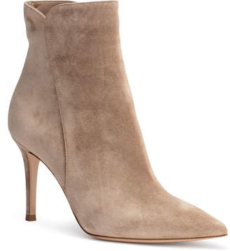 Gianvito Rossi Levy 85 beige suede pointy booties