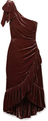 Ulla Johnson Elisa One-shoulder Ruffled Velvet Dress - Chocolate