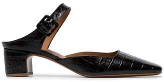 By Far Mira 45 croc-embossed leather mules
