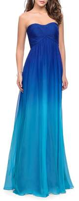 La Femme Ruched Ombre Chiffon Strapless Gown