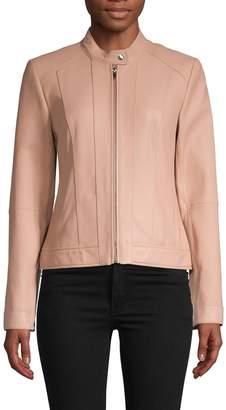 Cole Haan Paneled Leather Moto Jacket