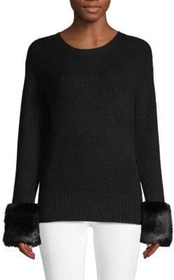 Textured Faux Fur-Trimmed Sweater