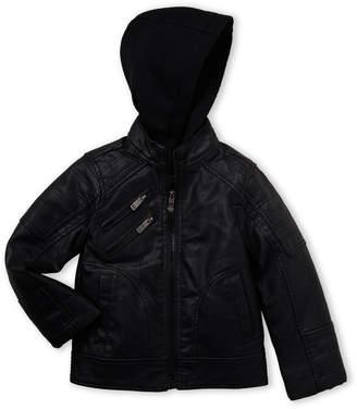 Urban Republic Boys 4-7) Black Faux Leather Hooded Jacket