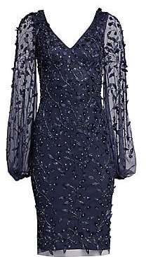 Theia Women's Embellished Sheer-Sleeve Cocktail Dress