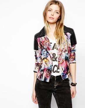 Asos Floral Print Biker Jacket - Black