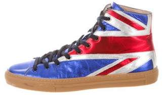 Gucci British Flag High-Top Sneakers