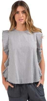 Elan International Charcoal Stripe Blouse