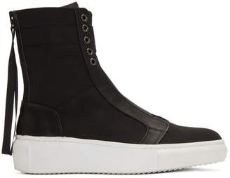 D by D Black Back Zip High-Top Sneakers