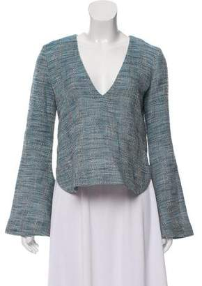 Ellery Tweed Bell Sleeve Top