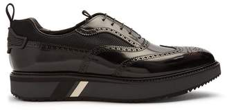 Prada Stacked Sole Mesh Detail Leather Brogues - Mens - Black