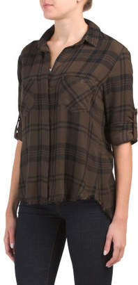 Frayed Hem Split Back Plaid Top