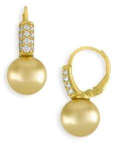 Majorica Champagne Faux Pearl and Crystal Drop Earrings