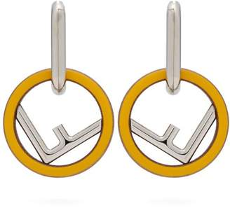 Fendi Logo Hoop Earrings - Womens - Yellow