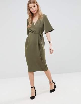 Asos DESIGN Midi Wrap Dress with Tie Detail