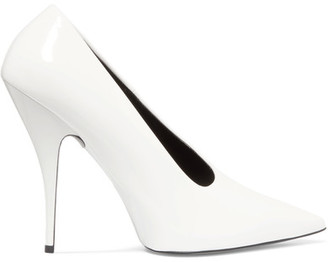 Stella McCartney - Faux Patent-leather Pumps - White $725 thestylecure.com