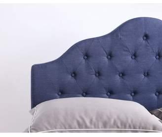 Hodedah Upholstered Tufted Rounded Headboard in Blue, Multiple Sizes