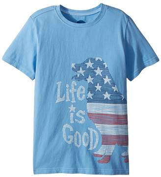 Life is Good Crusher Big Flag Dog Tee Boy's T Shirt