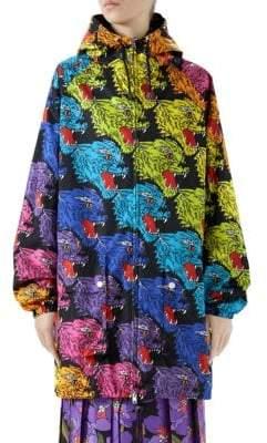 Gucci Oversize Zip-Up Panther Nylon Jacket