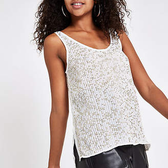 River Island Womens Gold sequin embellished cami top