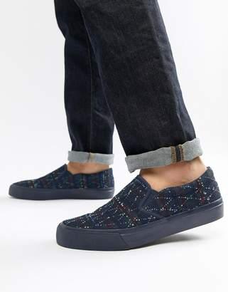 Asos Design Slip On Plimsolls In Denim With Embroidery