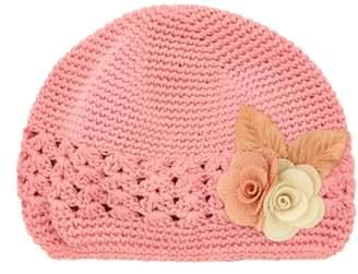 PLH Bows Linen Flower Crochet Hat