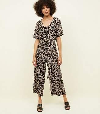 New Look Tan Leopard Print Button Through Jumpsuit