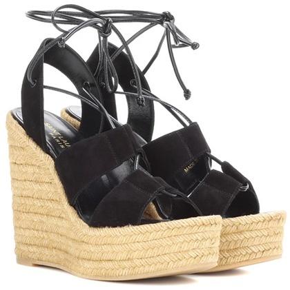 Saint LaurentSaint Laurent Espadrille 95 Suede Wedge Sandals