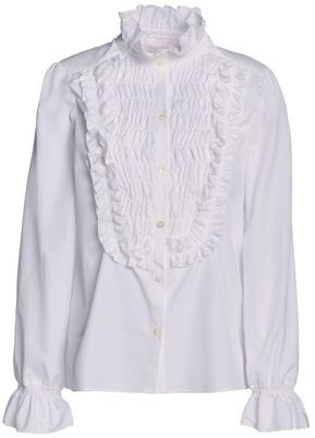 See by Chloe Ruffle-Trimmed Shirred Cotton-Poplin Blouse