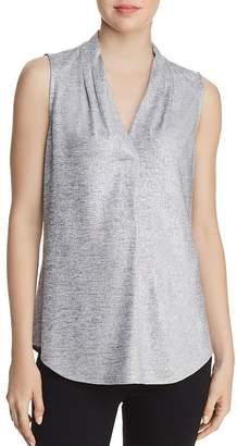 Calvin Klein Sleeveless Pleat-Neck Blouse