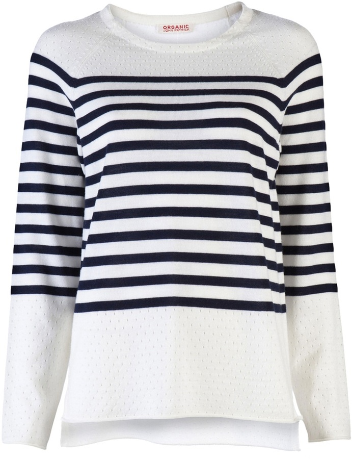 Organic By John Patrick PERFORATED STRIPE PULLOVER