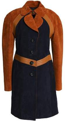 Coach Leather-Trimmed Suede Coat