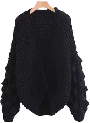 'Abbey' Hand-knitted Pom Pom Sleeve Chunky Cardigan - Black