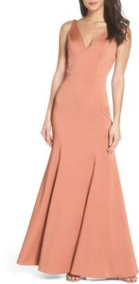 Jenny Yoo Jade Luxe Crepe V-Neck Gown