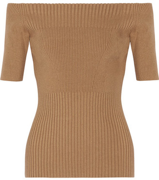 Jason Wu - Off-the-shoulder Ribbed Stretch Wool-blend Top - Tan $795 thestylecure.com