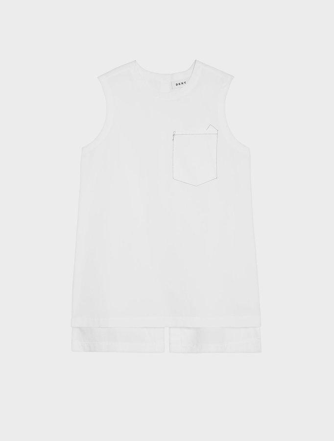 DKNYSleeveless Shirt With Step Hem And Front Pocket