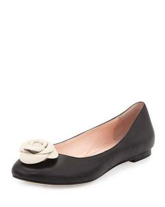 Kate Spade New York Walta Leather Flower Ballerina Flat, Black $198 thestylecure.com