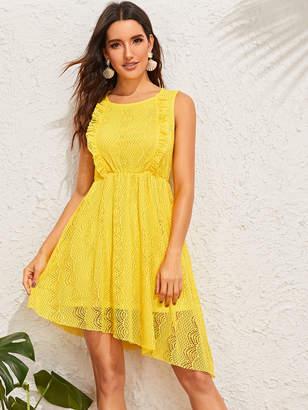 Shein Ruffle Trim Asymmetrical Hem Lace Dress