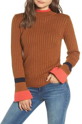 Moon River Stripe Bell Sleeve Sweater
