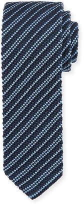 Ermenegildo Zegna Skinny Striped Knit Silk Tie, Blue