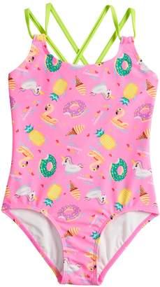 So Girls 7-16 SO Float On Donut, Unicorn, Ice Cream & Pineapple One-Piece Swimsuit
