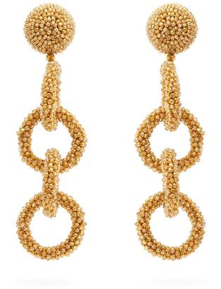 Oscar de la Renta Bead-embellished drop earrings