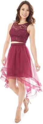 Iz Byer Juniors' 2-Piece Lace Illusion Dress