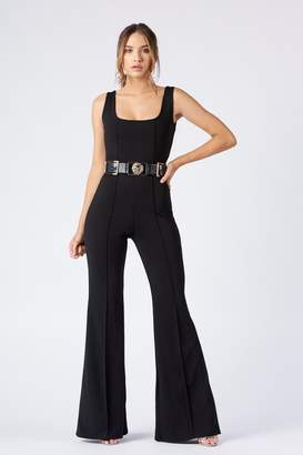 36955d1c0947 Club L Womens   Square Neck Kick Flare Jumpsuit By Black