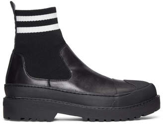 Neil Barrett Black Two-Stripe Techno High-Top Sneakers
