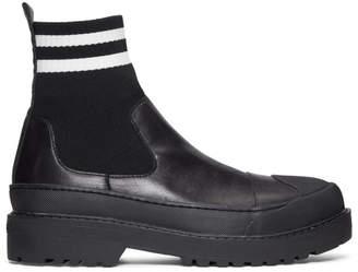 Neil Barrett Black Two-Stripe Techno High-Top Sneakers