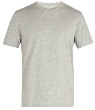 Frame Crew Neck Cotton Jersey T Shirt - Mens - Grey