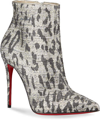 Christian Louboutin So Kate Metallic Leopard Red Sole Booties