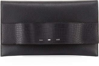 VBH Passe Partout XL Leather Clutch Bag with Alligator Trim