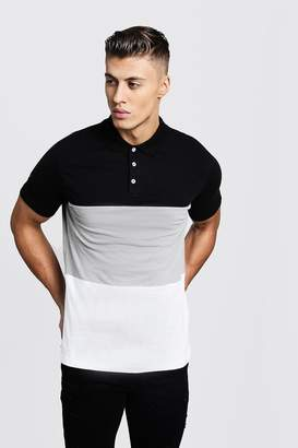 boohoo Colour Block Short Sleeve Polo Shirt